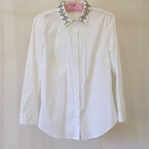 Ann Taylor Blouse with Jeweled Collar